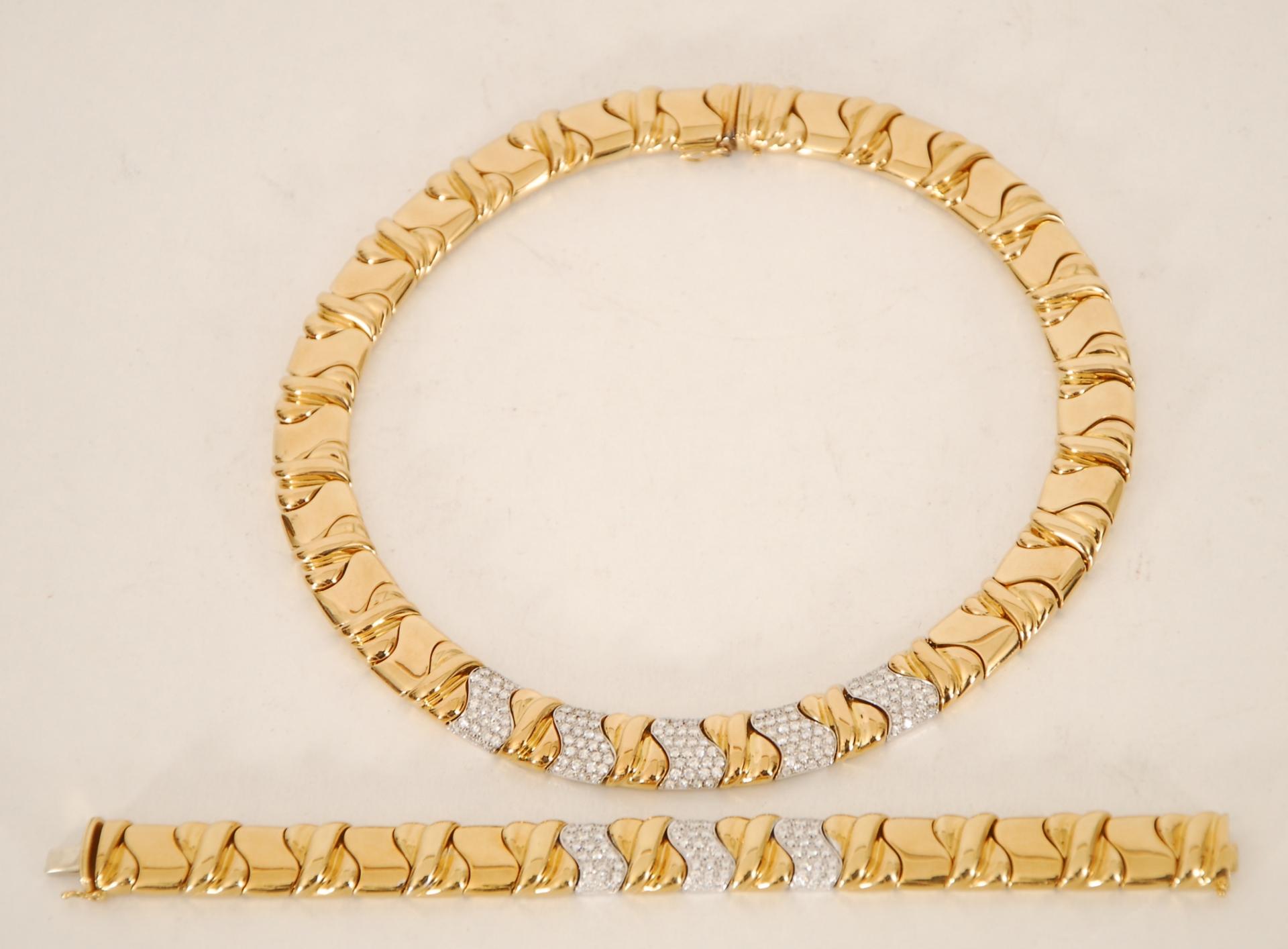 Collier et bracelet style Bulgari