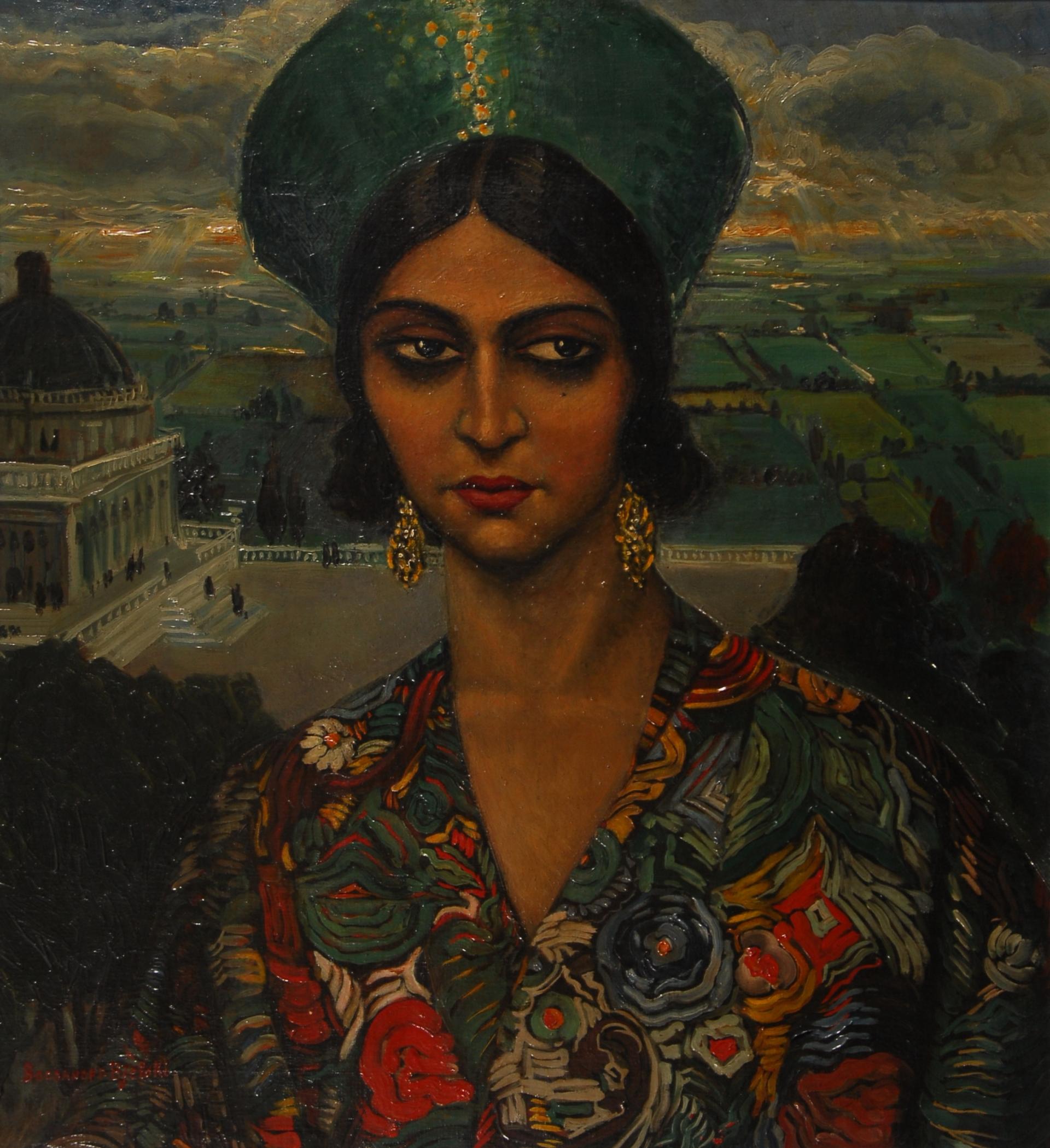 Jeune femme russe dans les jardins d´un palais