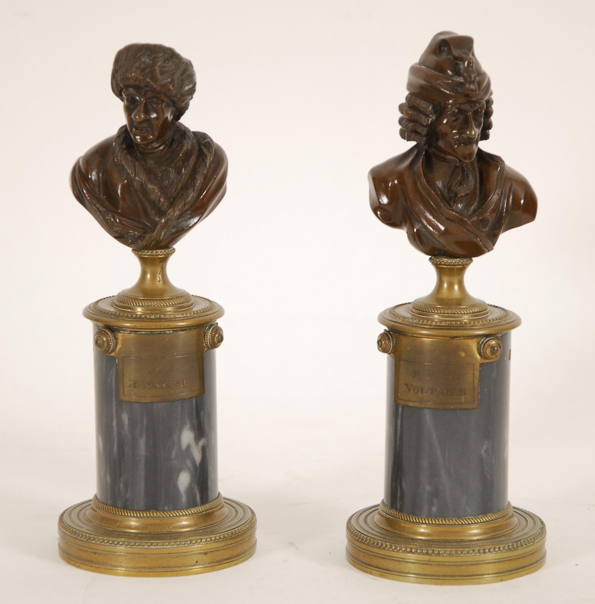 Bustes de Voltaire et de Rousseau
