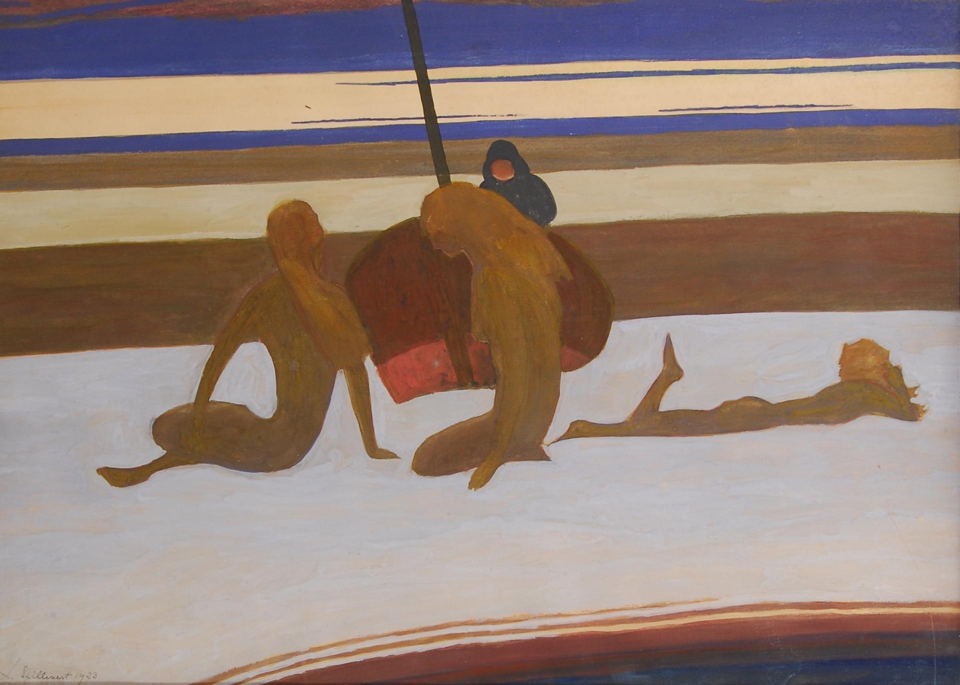 Baigneuses, barque et pêcheur sur la plage